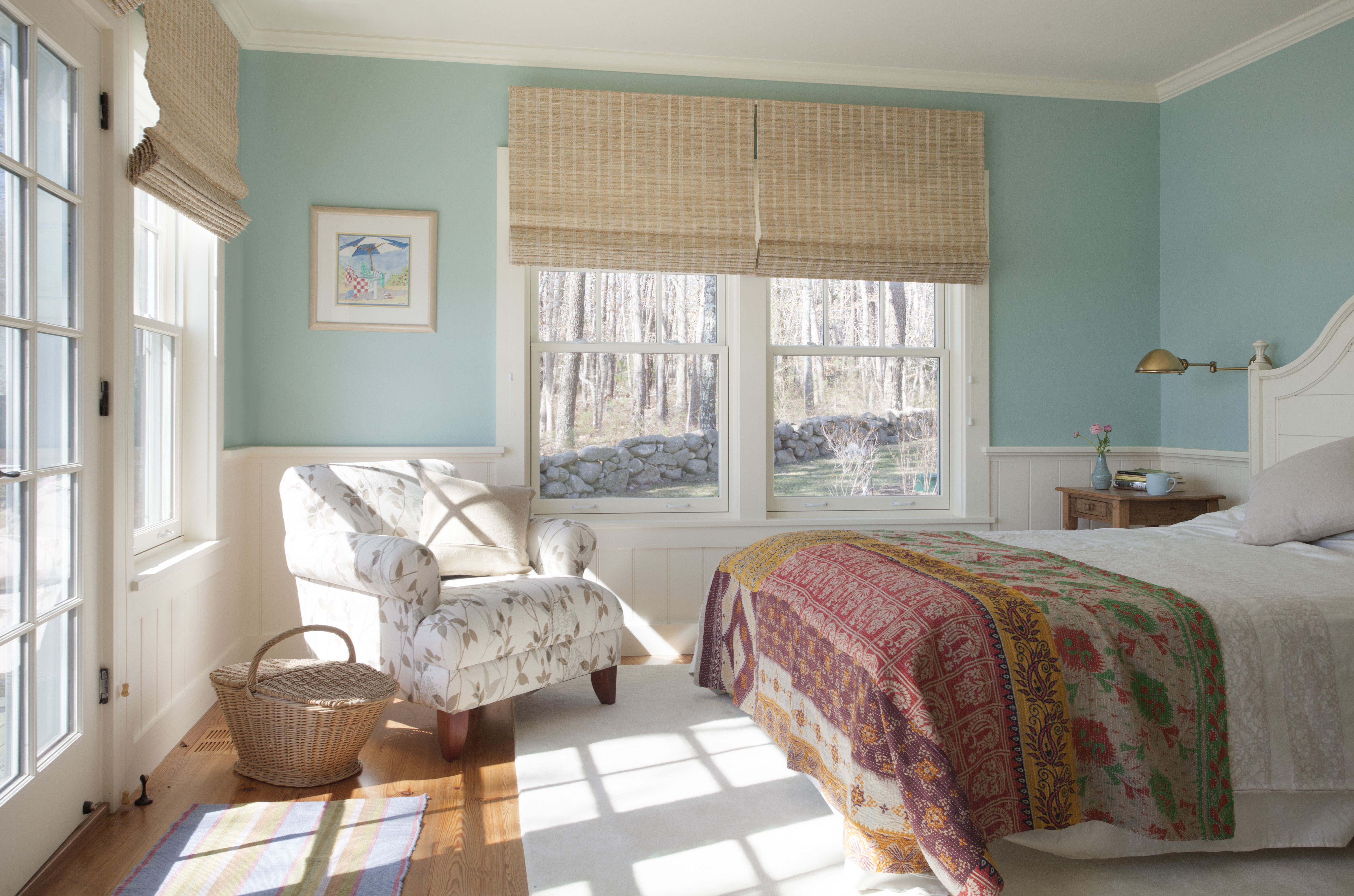 Color defines the mood in this Martha's Vineyard bedroom designed by Elizabeth Swartz Interiors