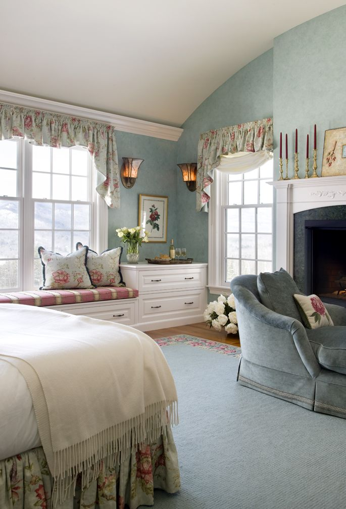 The color of this bedroom by Boston Interior Designer Elizabeth Swartz Interiors sets a relaxing and romantic tone.