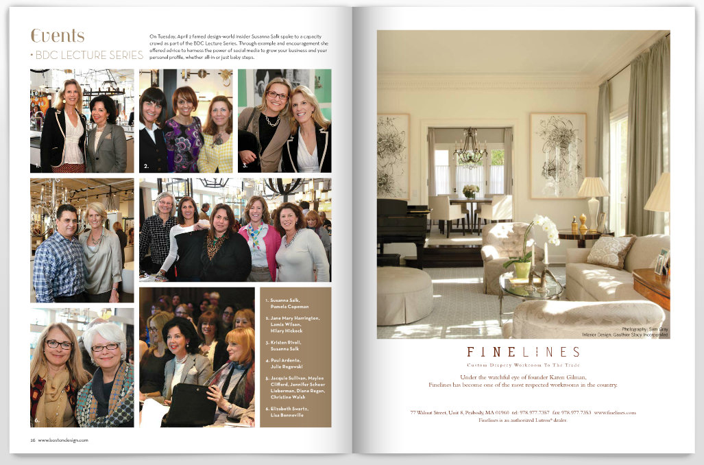 Cybele Magazine feature for Boston Design Center Susanna Salk Event with photo of Elizabeth Swartz of Elizabeth Swartz Interiors, Boston Interior Designer