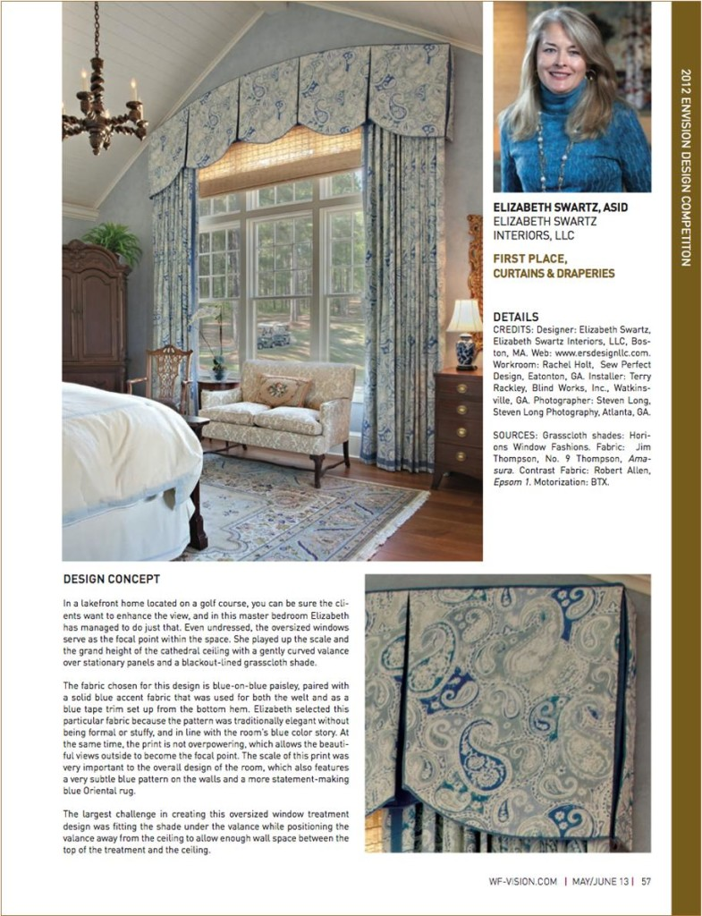 Window Fashion Vision Magazine pg 57 featuring the 2012 Envision Design Contest first Place Winner for Curtains and Draperies Boston Interior Designer Elizabeth Swartz Interiors