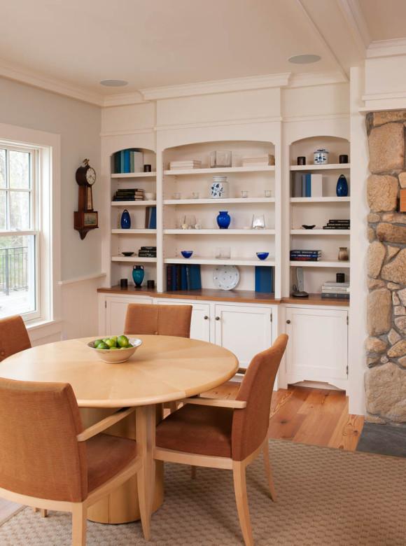 Dining in style in the seaside home designed by Boston Interiors Designer Elizabeth Swartz Interiors.