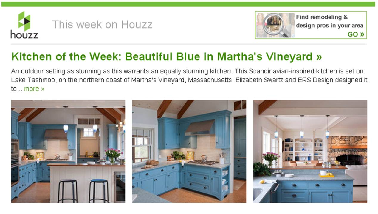 "Boston interior designer Elizabeth Swartz Interiors ""Beautiful Blue in Martha's Vineyard"" Kitchen was featured as ""Kitchen of the Week"" on Houzz.com."