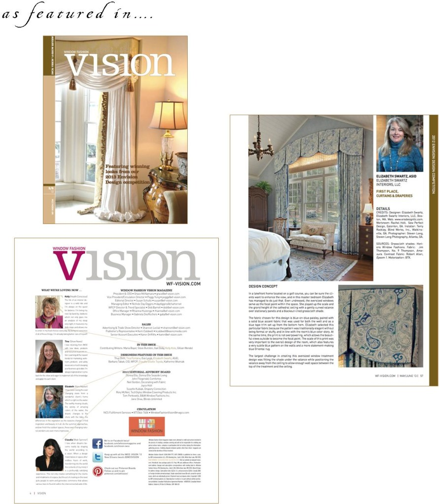 Window Fashion Vision Magazine Design Competition Winner Elizabeth Swartz Interiors of Boston