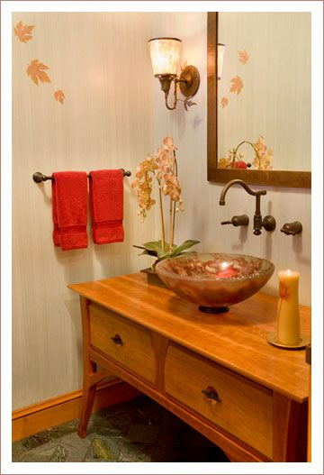 Custom designed furniture-inspired bathroom vanity by Boston Interior Designer Elizabeth Swartz Interiors
