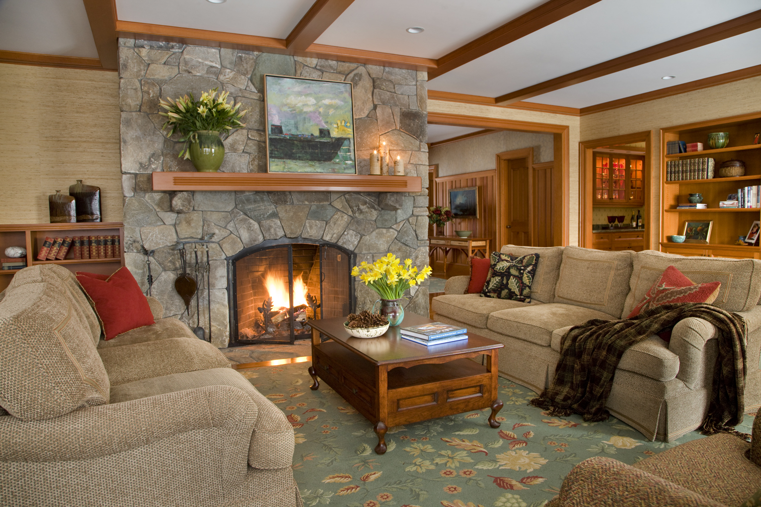 Stone fireplace by Elizabeth Swartz Interiors