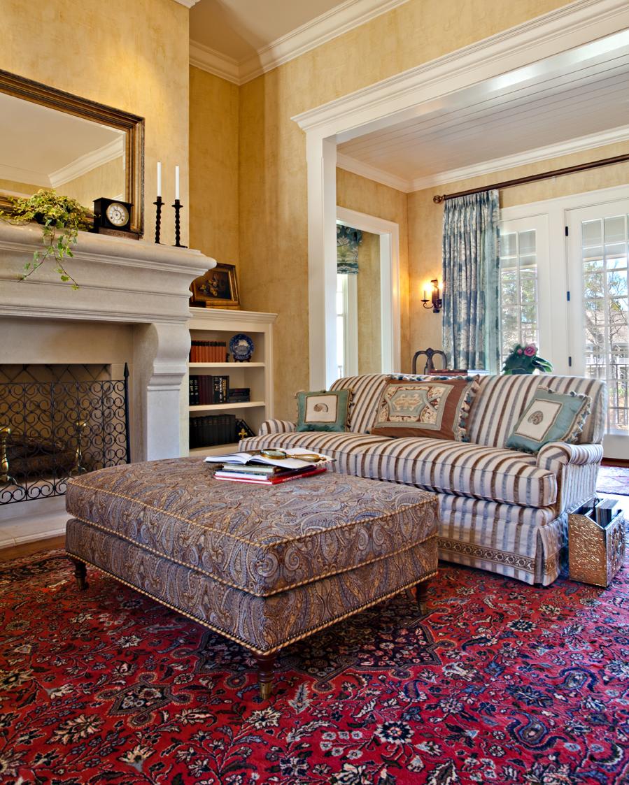 Limestone fireplace by Elizabeth Swartz Interiors