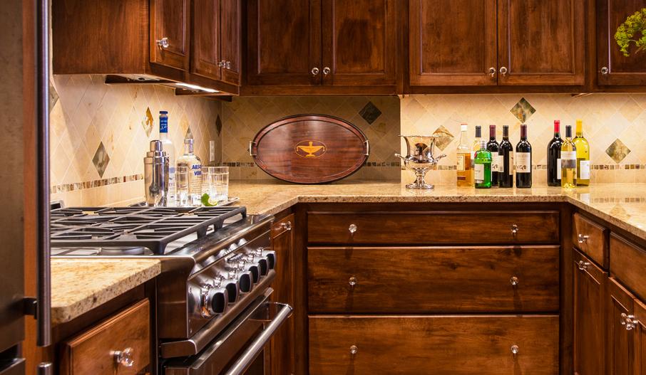 honed marble tile kitchen backsplash by Elizabeth Swartz Interiors
