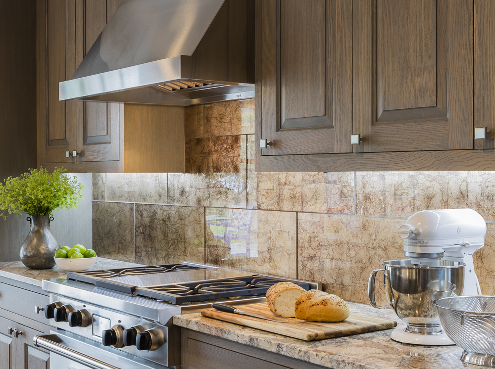 glass tile kitchen backsplash by Elizabeth Swartz Interiors