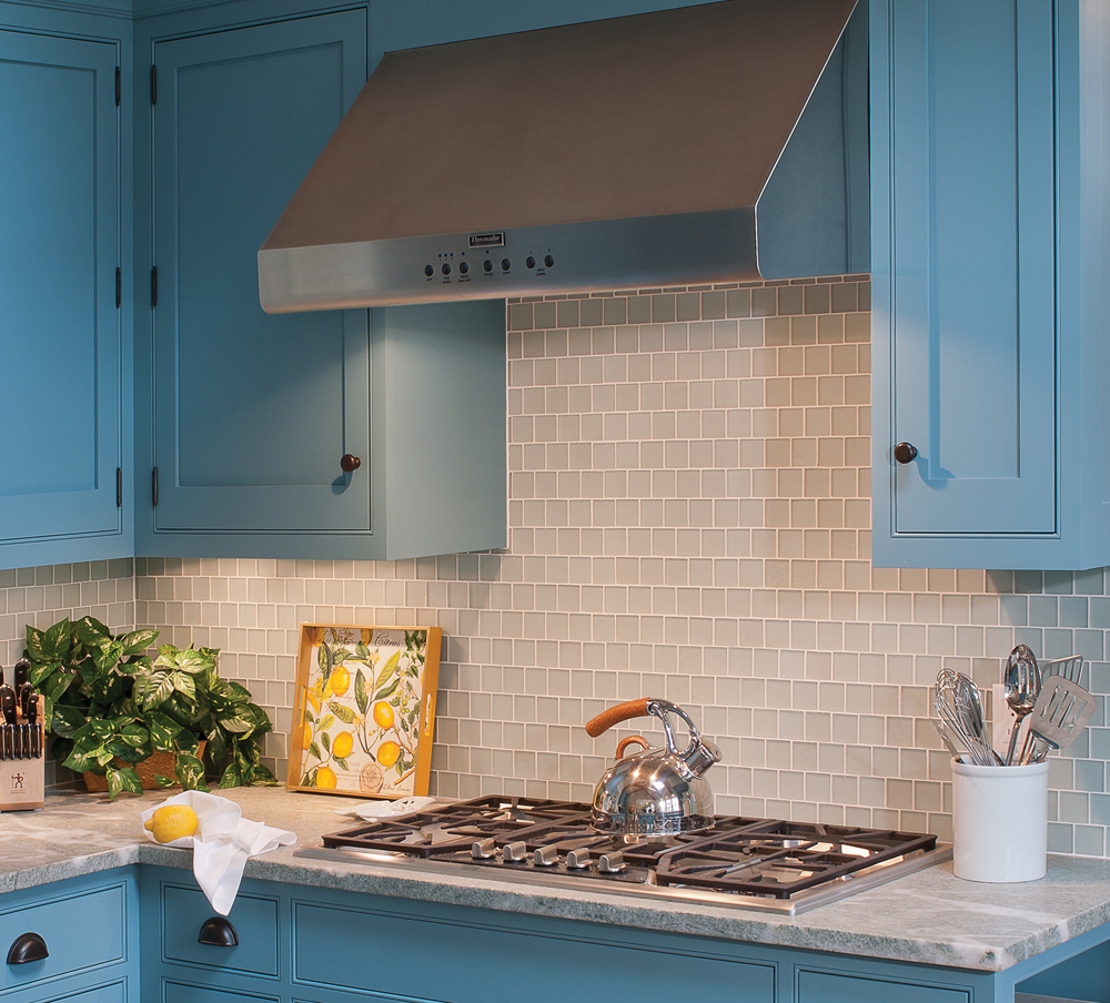 frosted blue glass tile kitchen backsplash by Elizabeth Swartz Interiors