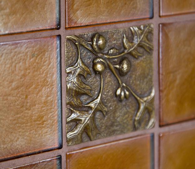 Glass and bronze tile kitchen backsplash by Elizabeth Swartz Interiors