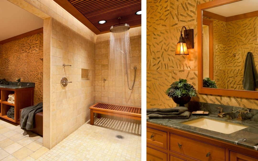 The master bath of a sophisticated mountain retreat combining modern outdoor motifs and rustic materials.