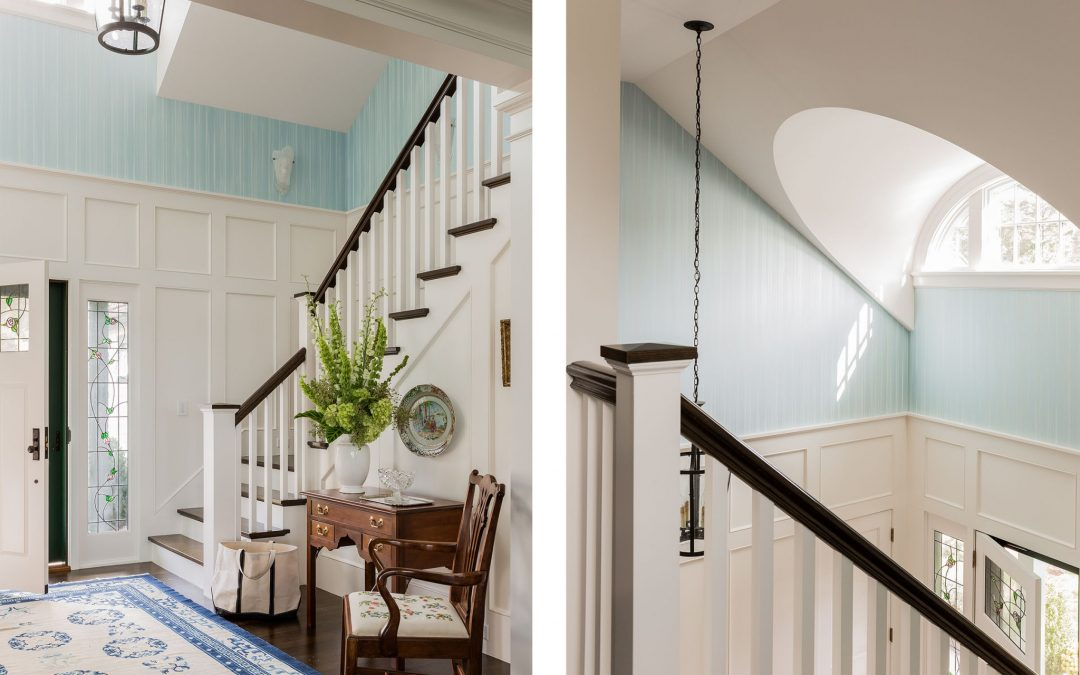The stairwell of this light and bright coastal home by Boston Interior Designer Elizabeth Swartz Interiors features a contemporary interior design with a nod to this homes traditional roots.