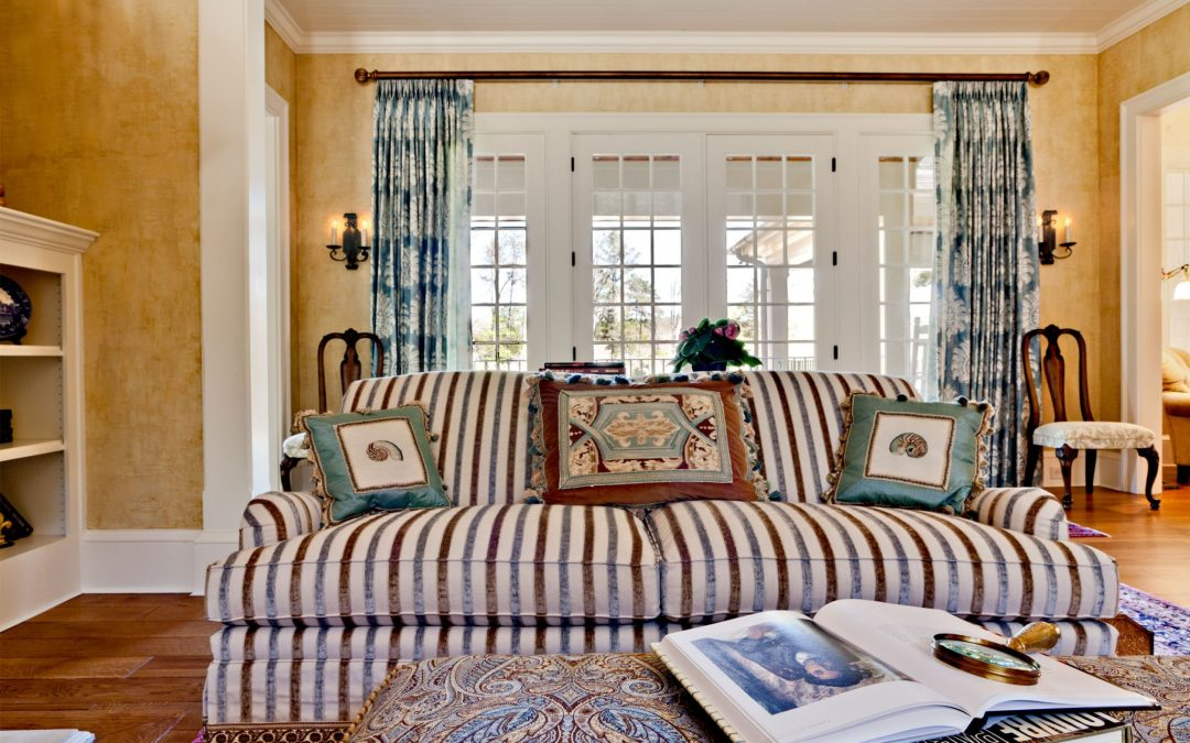 On the main level of this Georgia lake house is a formal living room designed by Boston Interior Designer Elizabeth Swartz Interiors.
