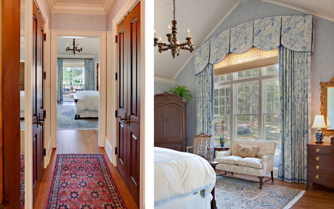 This relaxing feminine bedroom in this Georgia lake house features award winning custom window treatments and interior design by Boston interior designer Elizabeth Swartz Interiors.