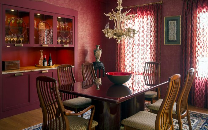 The Contemporary Interior Design Of This Dining Room Blends Rich Colors,  Custom Cabinetry, Warm