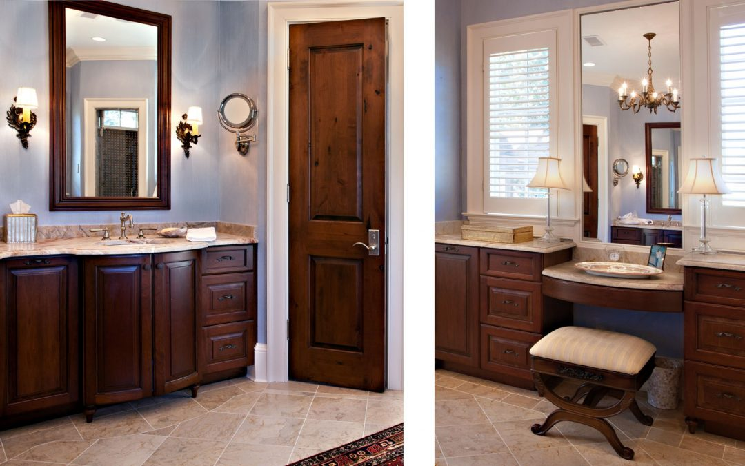 The master bath in this Georgia lake house designed by Boston interior designer Elizabeth Swartz Interiors  utilizes the client's preferred color palette of blues and browns.