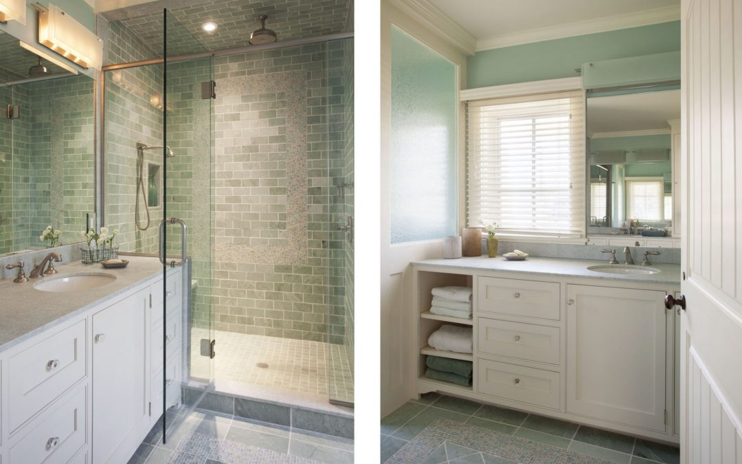 The interior design for the main bathroom of this beach cottage on Martha's Vineyard by Boston Interior Designer Elizabeth Swartz Interiors makes use of every bit of space to provide ample storage for the homeowner.