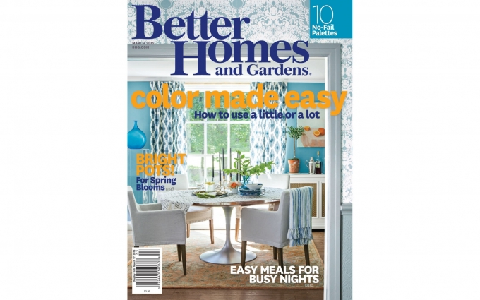 This Better Homes and Gardens Magazine features a beautiful blue kitchen by Boston Interior Designer Elizabeth Swartz Interiors.