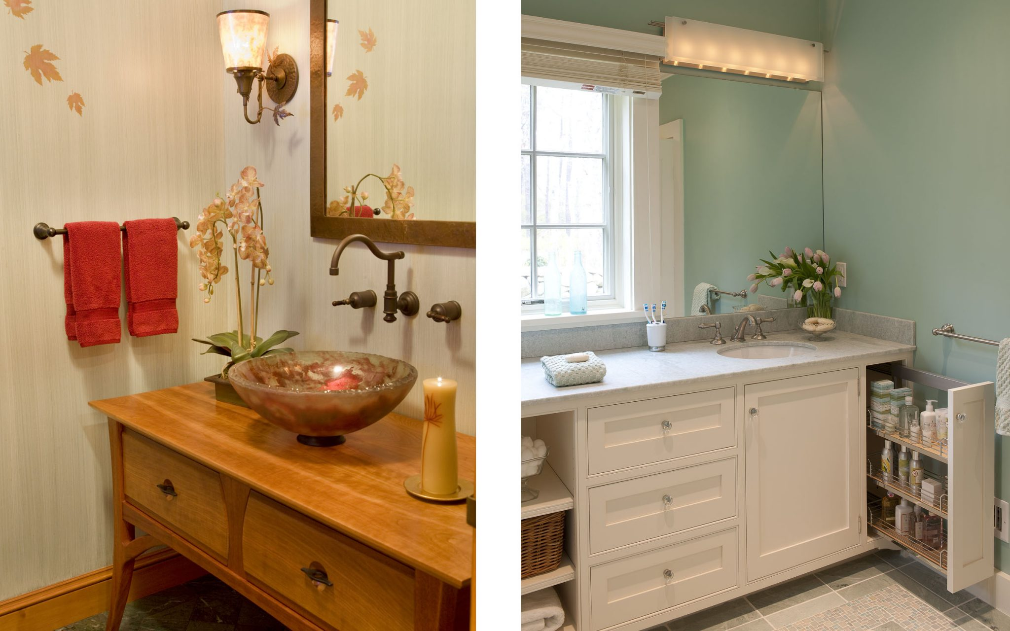 Two bathrooms designed by Boston-area interior design firm Elizabeth Swartz Interiors that are featured in this HGTV article about bathroom storage.