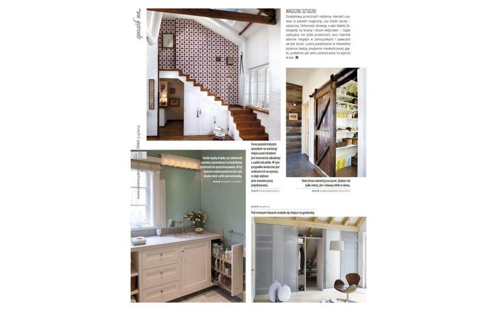 Polish Magazine | Świat Rezydencji Wnętrz Ogrodów Features bathroom cabinetry designed by Boston-based Elizabeth Swartz Interiors blends color, style and efficient storage.
