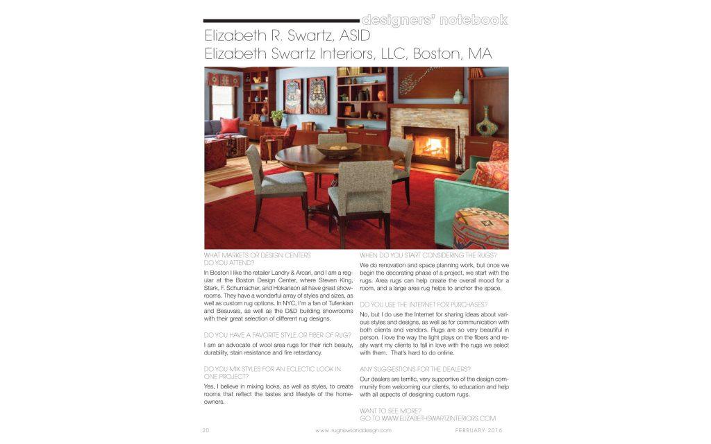 Rug News & Design | Designer's Notebook where Boston Interior Design Elizabeth Swartz Interiors offers expert tips to help you choose the right rug for your interior.