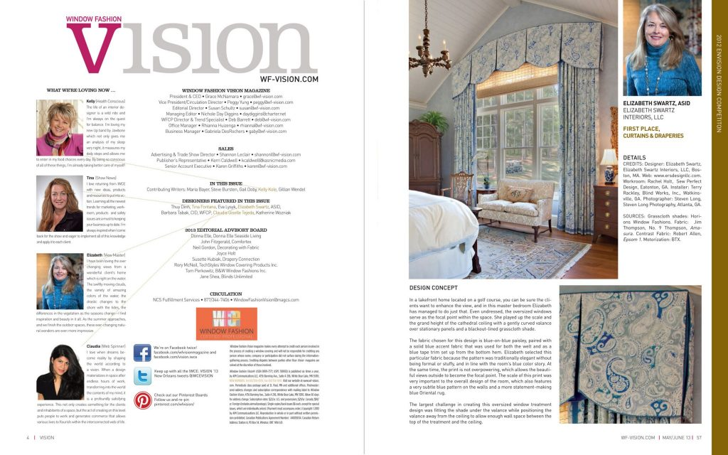 Window Fashion Vision | First Place, Curtains & Draperies for Boston Interior Designer Elizabeth Swartz Interiors for the window treatments for this lakeside master bedroom's oversized windows.