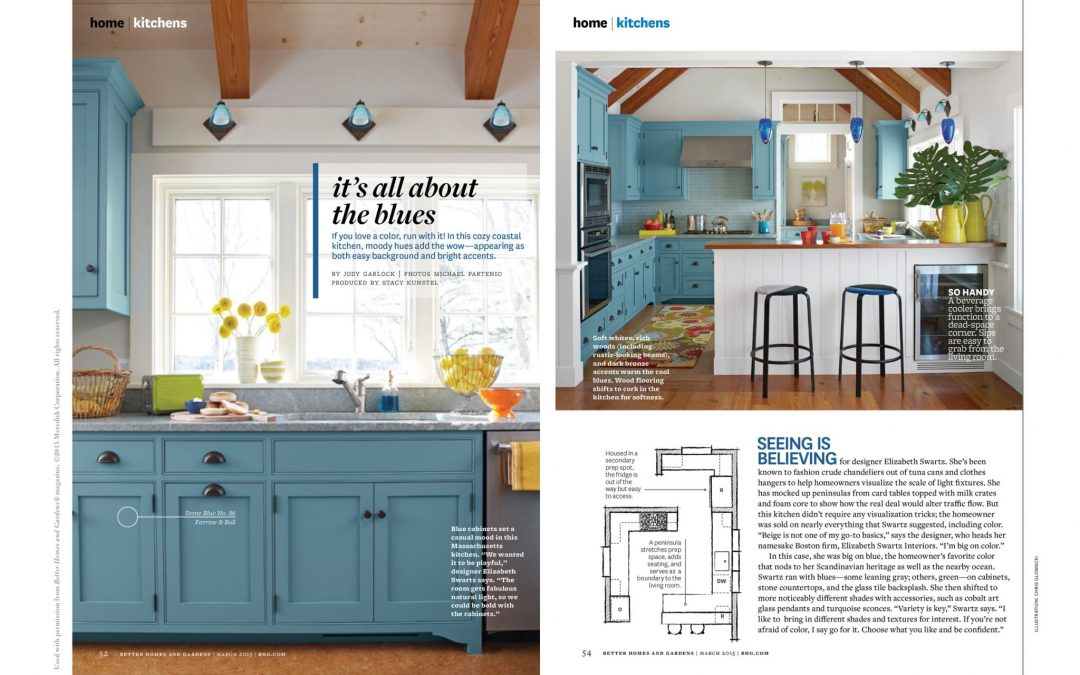 "Better Homes & Gardens article called ""It's All About the Blues"" featuring kitchen design by Elizabeth Swartz interiors"