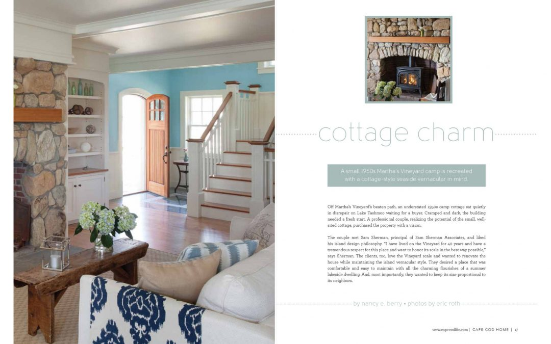 "First and second pages of article in Cape Cod Home called ""Cottage Charms"" featuring interior design by Boston Interior Designer Elizabeth Swartz Interiors."