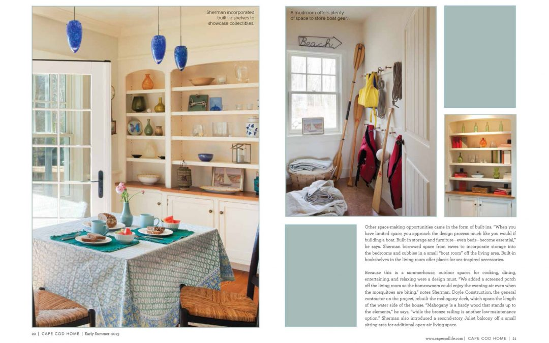 "Fifth and sixth pages of article in Cape Cod Home called ""Cottage Charms"" featuring interior design by Boston Interior Designer Elizabeth Swartz Interiors."