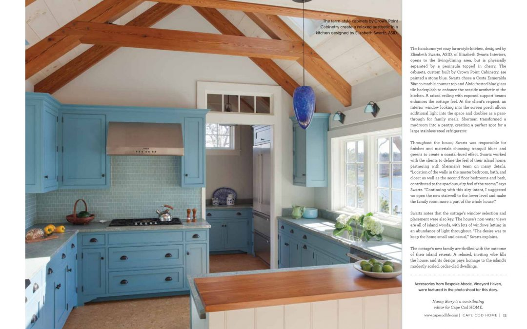 "Seventh and eight pages of article in Cape Cod Home called ""Cottage Charms"" featuring interior design by Boston Interior Designer Elizabeth Swartz Interiors."