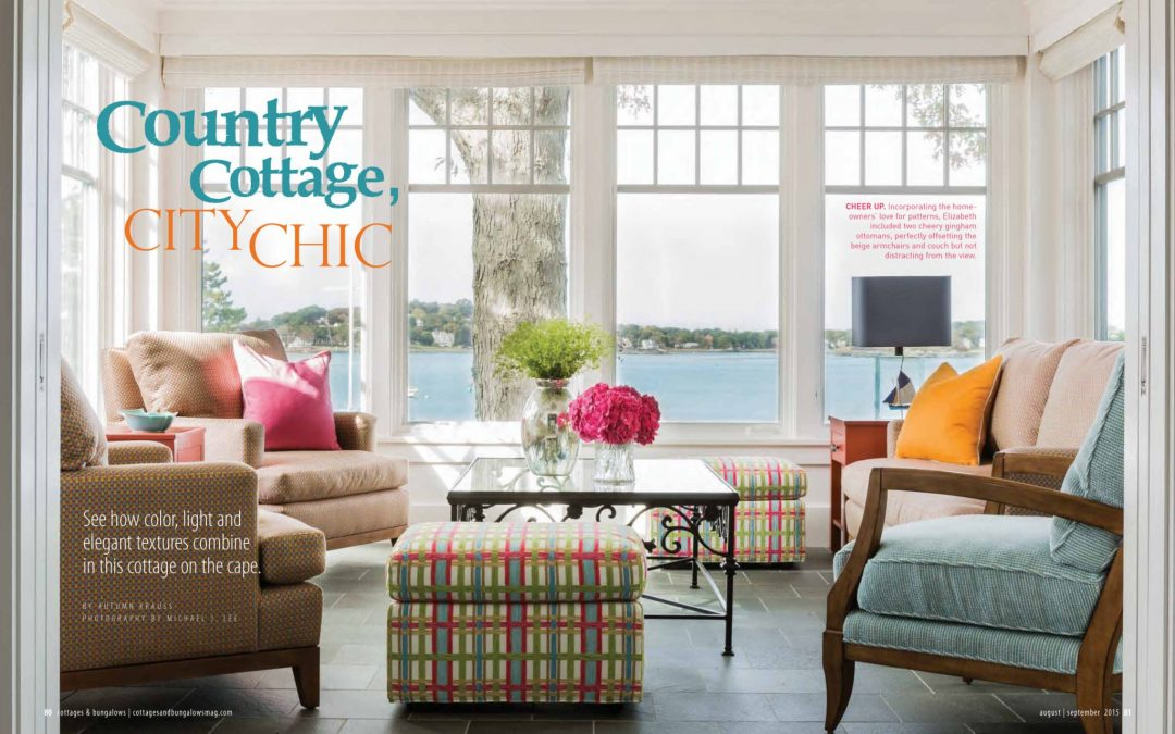 "First and second page of Cottage and Bungalows magazine article ""Country Cottage, City Chic"" featuring interior design by Boston interior designer Elizabeth Swartz Interiors.s"