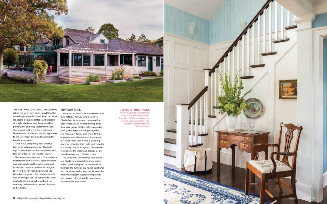 "Third and forth pages of Cottage and Bungalows magazine article ""Country Cottage, City Chic"" featuring interior design by Boston interior designer Elizabeth Swartz Interiors."