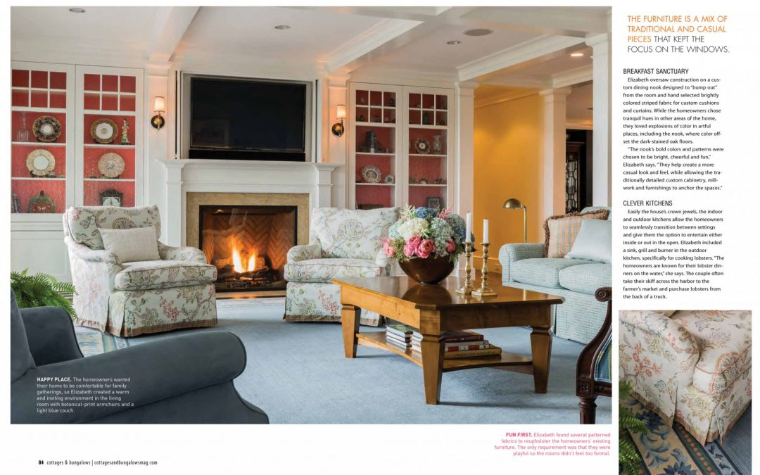 "Fifth and sixth pages of Cottage and Bungalows magazine article ""Country Cottage, City Chic"" featuring interior design by Boston interior designer Elizabeth Swartz Interiors."