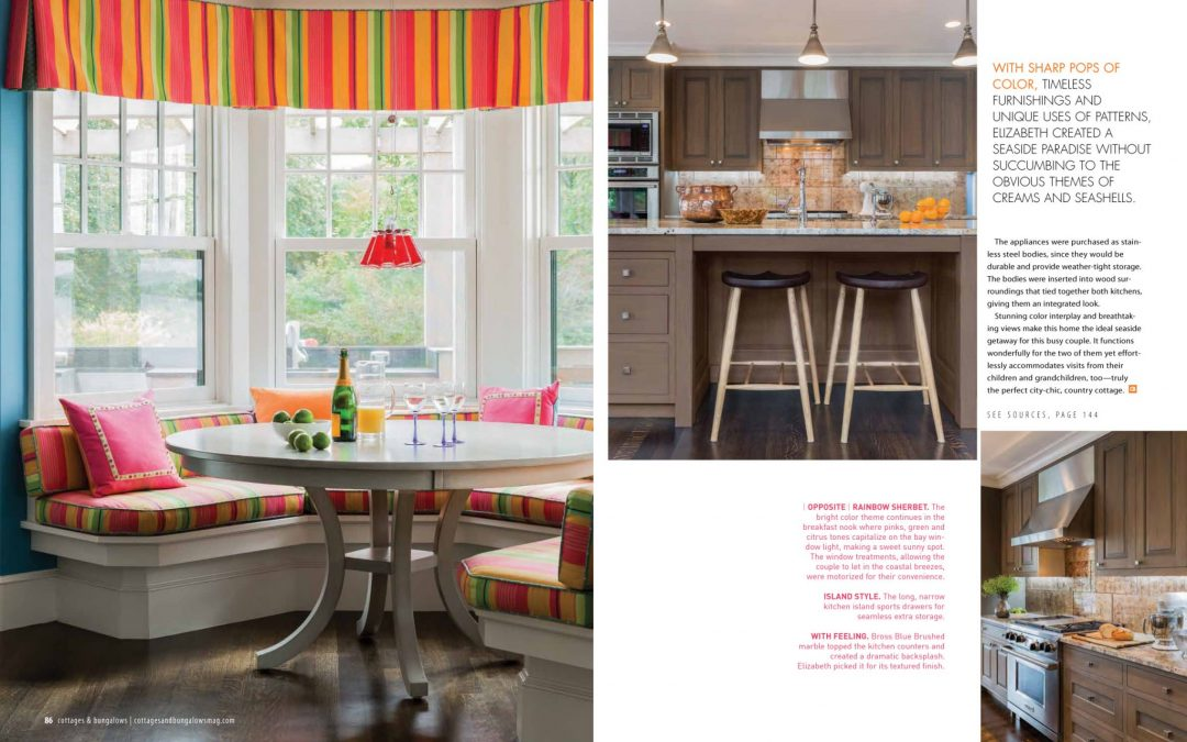 "Seventh and eighth pages of Cottage and Bungalows magazine article ""Country Cottage, City Chic"" featuring interior design by Boston interior designer Elizabeth Swartz Interiors."
