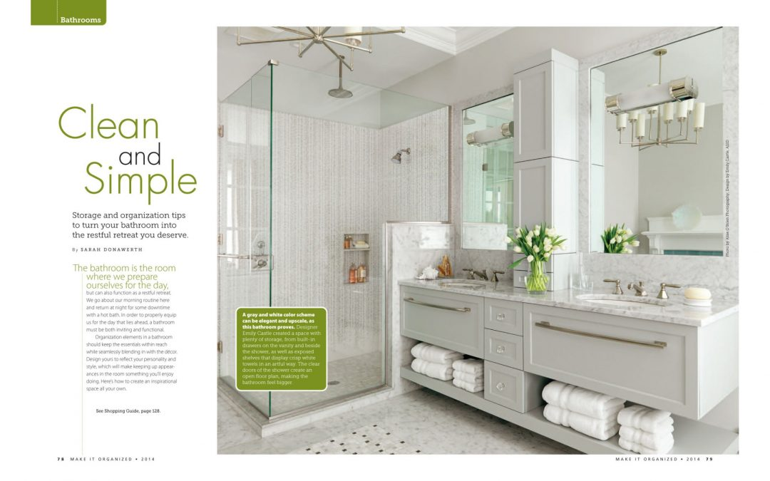 """First and second pages of Make It Organized Article """"Clean and Simple"""" featuring bathroom design by Boston interior designer Elizabeth Swartz Interiors."""