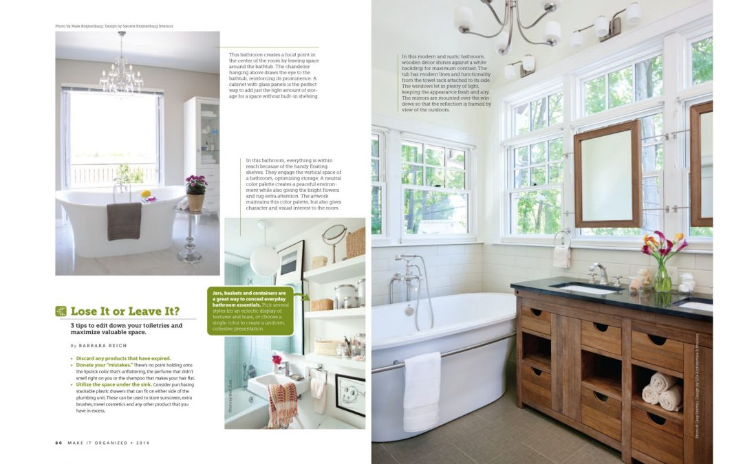 """Third and forth pages of Make It Organized Article """"Clean and Simple"""" featuring bathroom design by Boston interior designer Elizabeth Swartz Interiors."""