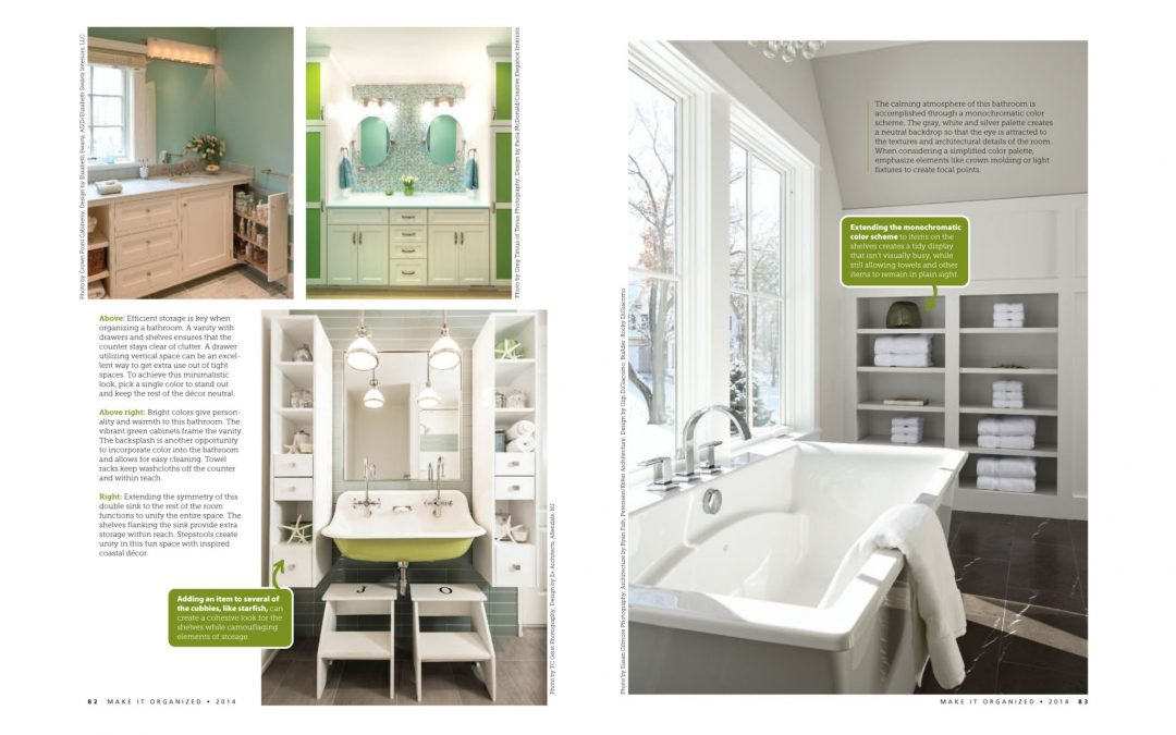 """Fifth and sixth pages of Make It Organized Article """"Clean and Simple"""" featuring bathroom design by Boston interior designer Elizabeth Swartz Interiors."""