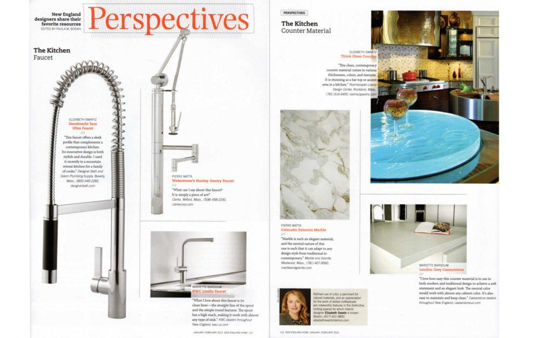 In this New England Home magazine feature, Boston Interior Designer Elizabeth Swartz shares her perspectives on her favorite kitchen resources.