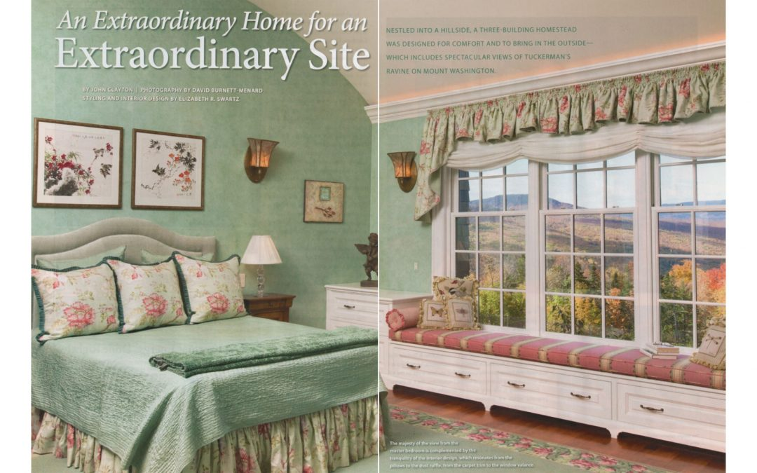 "First and second pages of New Hampshire Home Magazine Article ""An Extraordinary Home for and Extraordinary Site"" featuring interior design by Boston interior designer Elizabeth Swartz Interiors."