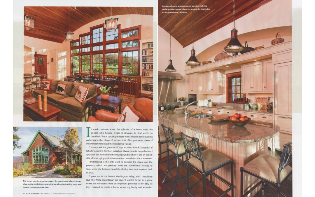 "Third and fourth pages of New Hampshire Home Magazine Article ""An Extraordinary Home for and Extraordinary Site"" featuring interior design by Boston interior designer Elizabeth Swartz Interiors."