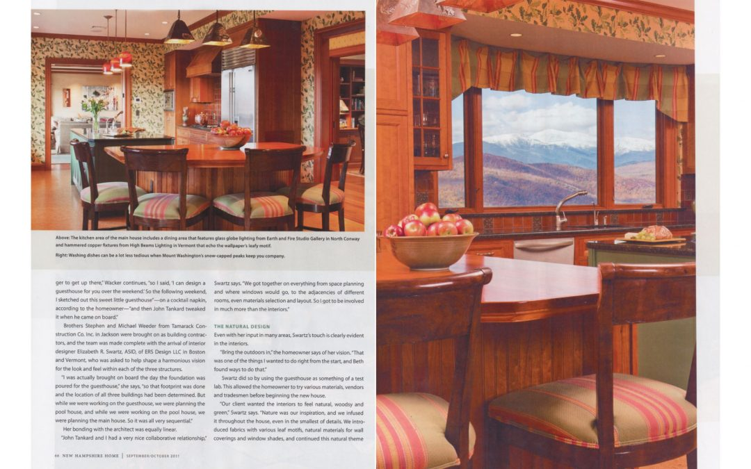 "Seventh and eighth pages of New Hampshire Home Magazine Article ""An Extraordinary Home for and Extraordinary Site"" featuring interior design by Boston interior designer Elizabeth Swartz Interiors."