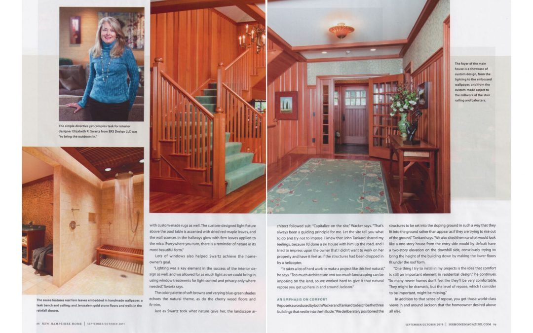 "Ninth and tenth pages of New Hampshire Home Magazine Article ""An Extraordinary Home for and Extraordinary Site"" featuring interior design by Boston interior designer Elizabeth Swartz Interiors."