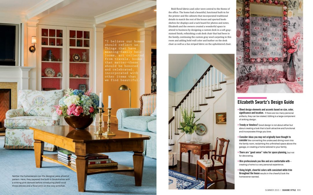 "Third and fourth pages of Seaside Style Magazine Article ""Semi-Formal"" featuring interior design by Boston Interior Designer Elizabeth Swartz Interiors."