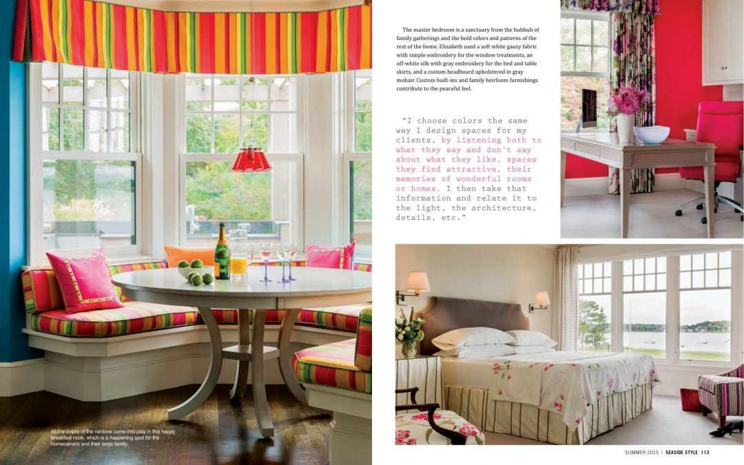 "Fifth and sixth pages of Seaside Style Magazine Article ""Semi-Formal"" featuring interior design by Boston Interior Designer Elizabeth Swartz Interiors."
