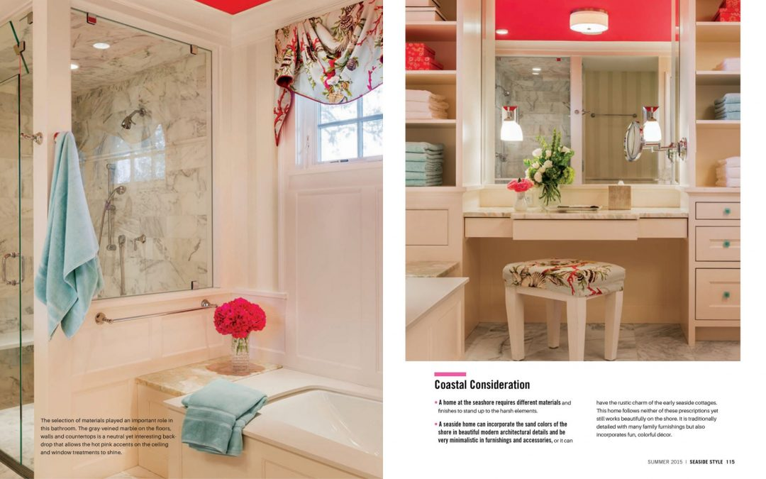 "Seventh and eighth pages of Seaside Style Magazine Article ""Semi-Formal"" featuring interior design by Boston Interior Designer Elizabeth Swartz Interiors."