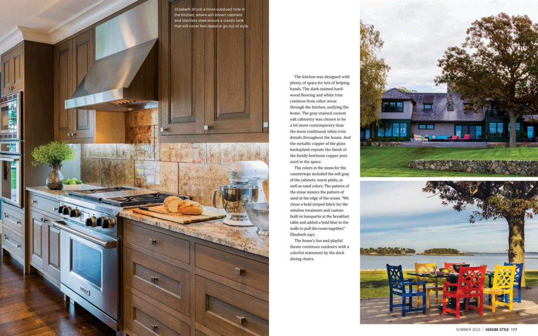 "Ninth and tenth pages of Seaside Style Magazine Article ""Semi-Formal"" featuring interior design by Boston Interior Designer Elizabeth Swartz Interiors."