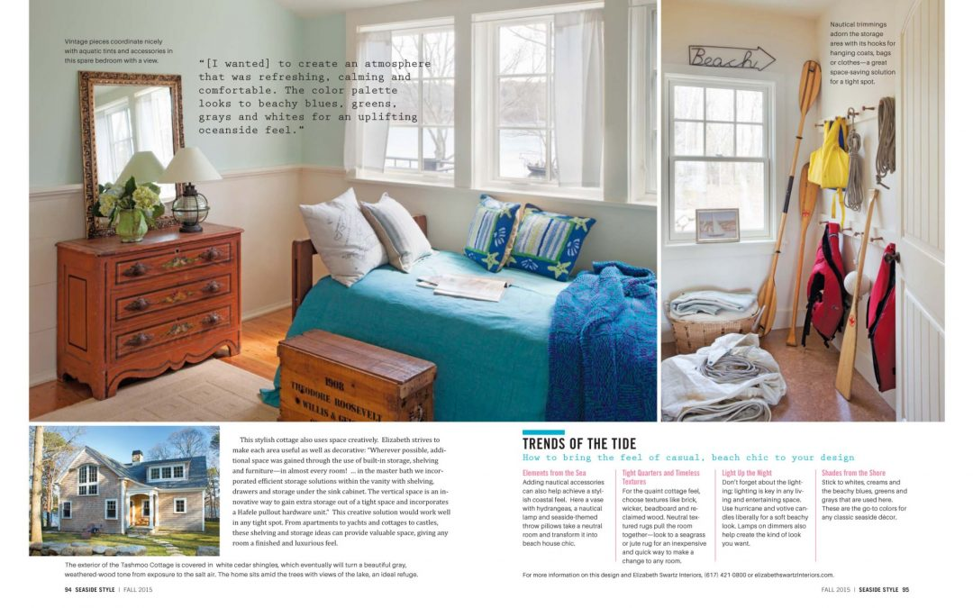 "Seventh and eighth page of Seaside Style magazine article ""The Quintessence of Vineyard Style"" featuring interior design by Boston Interior Designer Elizabeth Swartz Interiors."