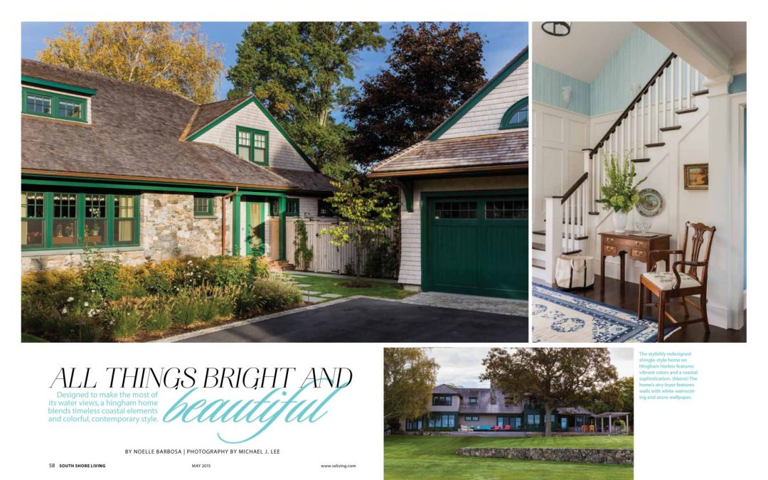 "First and second pages of South Shore Living Magazine Article ""All Things Bright and Beautiful"" featuring interior design by Boston Interior Designer Elizabeth Swartz Interiors."