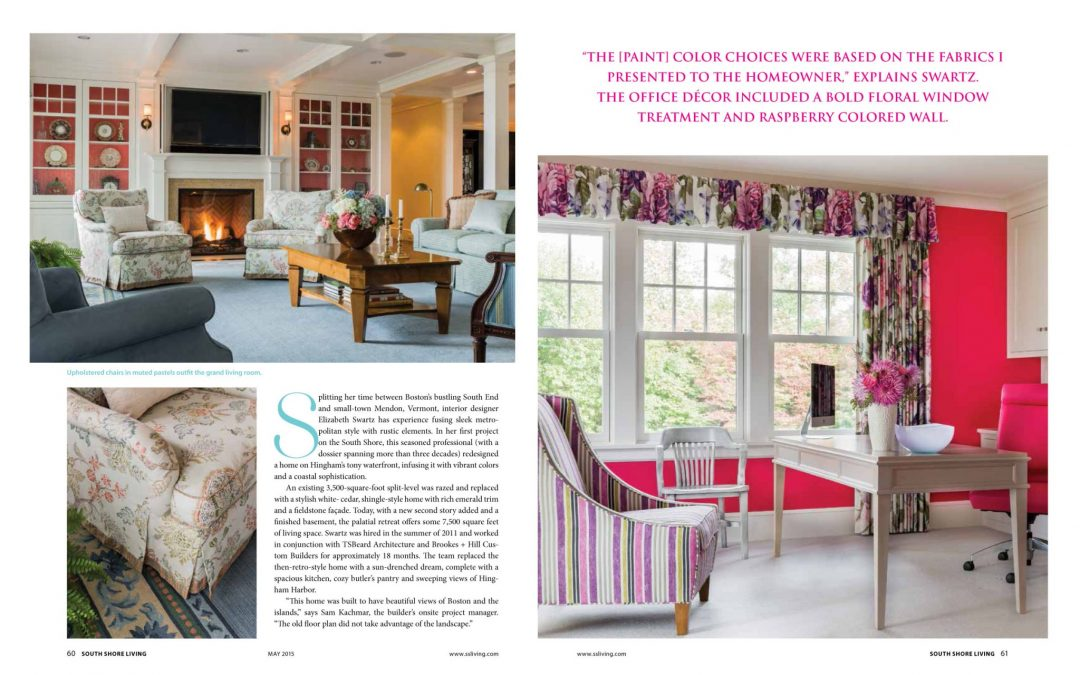 "Third and fourth pages of South Shore Living Magazine Article ""All Things Bright and Beautiful"" featuring interior design by Boston Interior Designer Elizabeth Swartz Interiors."