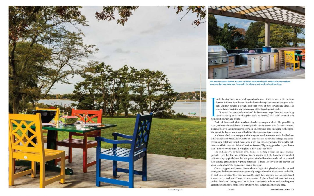"Fifth and sixth pages of South Shore Living Magazine Article ""All Things Bright and Beautiful"" featuring interior design by Boston Interior Designer Elizabeth Swartz Interiors."